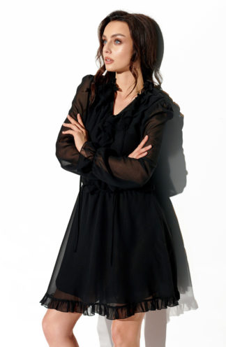 Szyfonowa sukienka z żabotem czarna