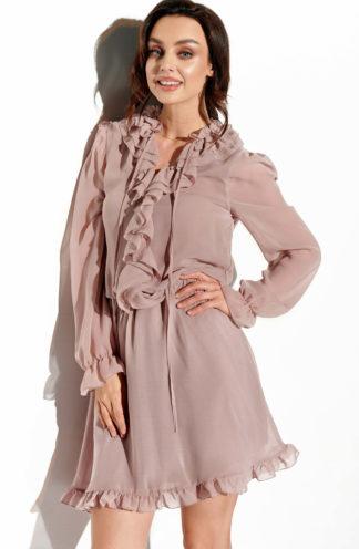 Szyfonowa sukienka z żabotem cappuccino