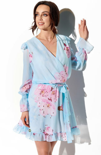 Wizytowa sukienka z szyfonu błękitna we wzory