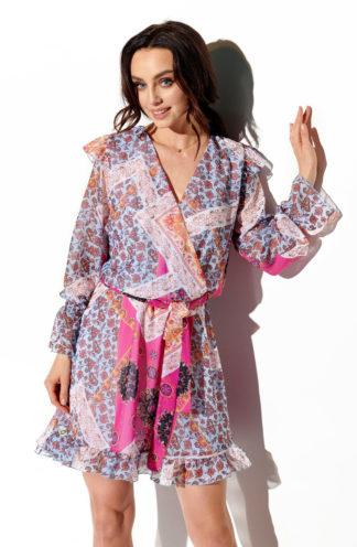 Wizytowa sukienka z szyfonu różowa we wzory
