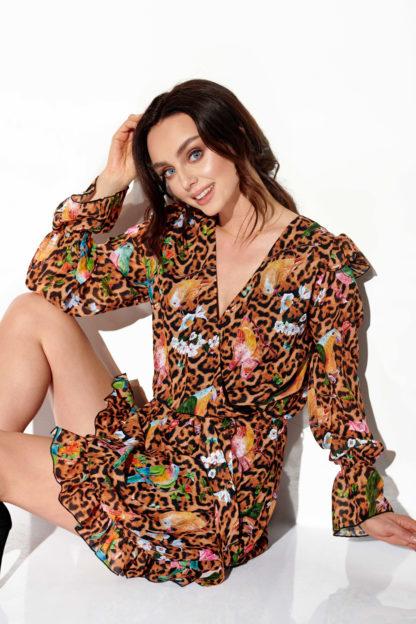 Wizytowa sukienka z szyfonu we wzory