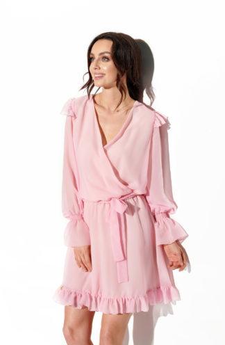 Wieczorowa sukienka z szyfonu różowa