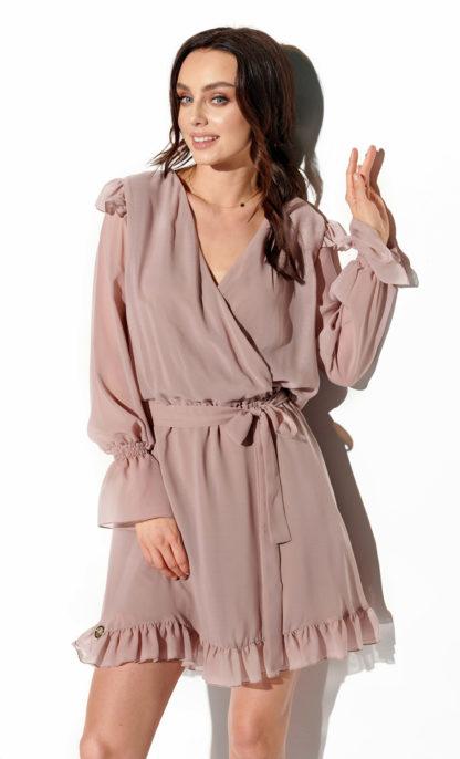 Wieczorowa sukienka z szyfonu cappuccino