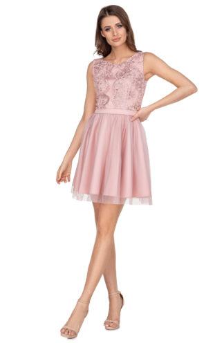 Rozkloszowana sukienka z haftem różowa