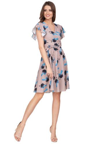 Kopertowa sukienka we wzory