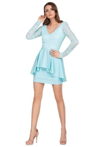 Koronkowa sukienka z baskinką niebieska