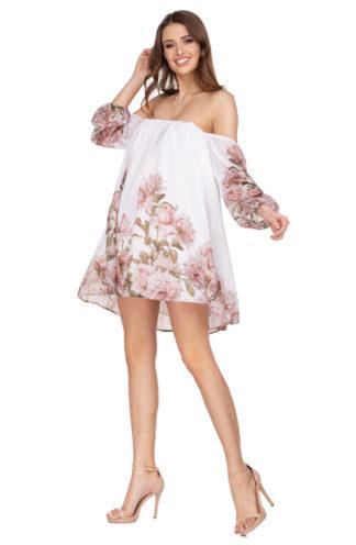 Sukienka hiszpanka z rękawami w kwiaty