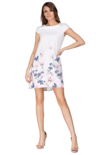 Sukienka łezka biała w kwiaty