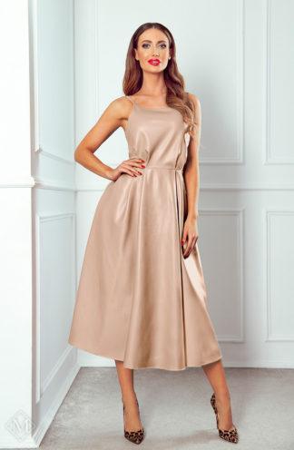 Rozkloszowana sukienka ze skóry beżowa
