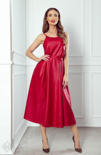 Rozkloszowana sukienka ze skóry czerwona