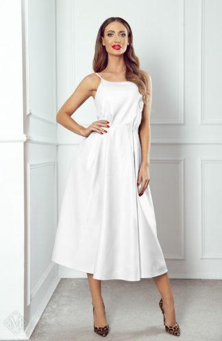 Rozkloszowana sukienka ze skóry ecru