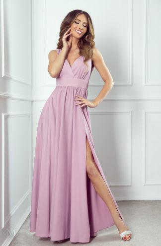 Długa sukienka z kopertowym dekoltem różowa
