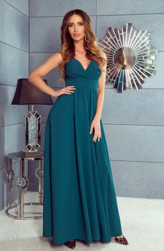 Długa sukienka z kopertowym dekoltem butelkowa zieleń