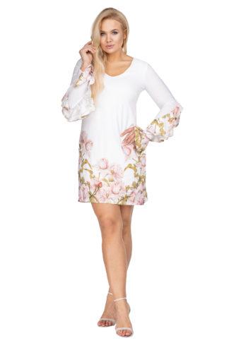 Trapezowa sukienka z rękawem biała w kwiaty