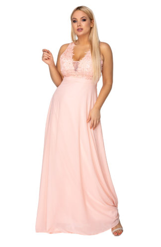 Długa suknia z ozdobną górą