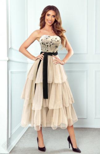 Tiulowa sukienka midi z gorsetem