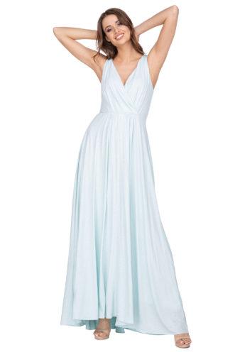 Błyszcząca sukienka maxi błękitna