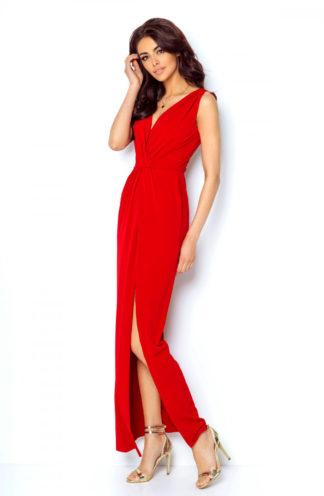 Sukienka maxi z kopertowym dekoltem czerwona