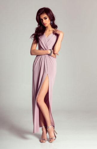 Sukienka maxi z kopertowym dekoltem lila
