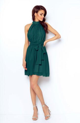 Sukienka z dekoltem halter zieleń