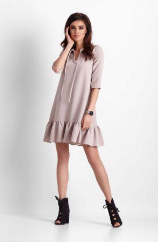 Trapezowa sukienka z falbanami beżowa