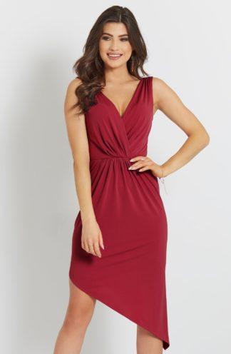 Asymetryczna sukienka ołówkowa czerwona