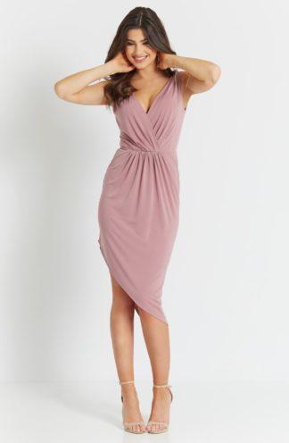Asymetryczna sukienka ołówkowa różowa