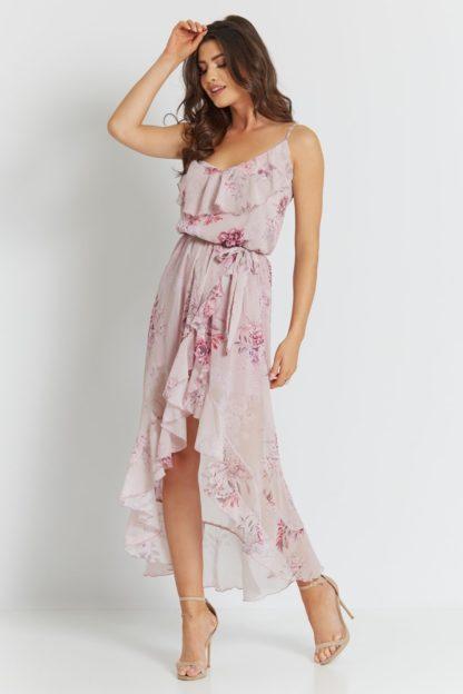 Szyfonowa sukienka z falbanami w kwiaty