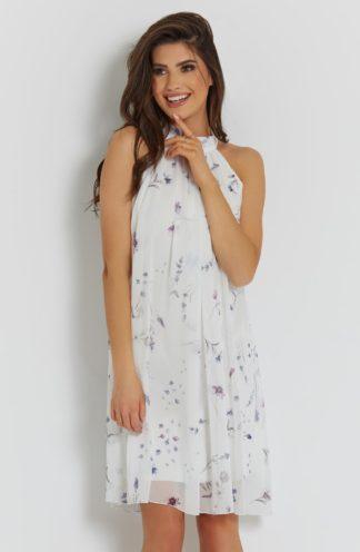 Sukienka z dekoltem halter biała w kwiaty