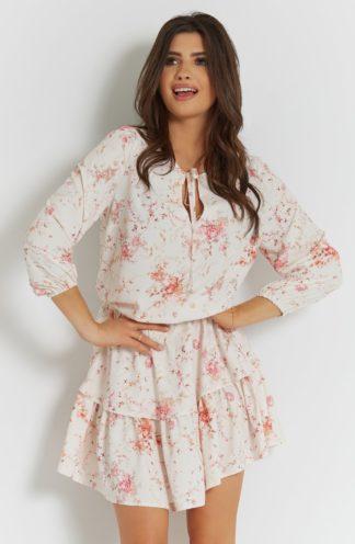 Mini sukienka z falbanami w kwiaty