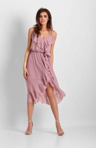 Szyfonowa sukienka midi z falbanami różowa