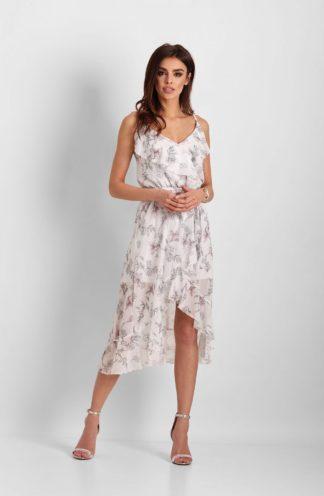 Szyfonowa sukienka midi z falbanami biała