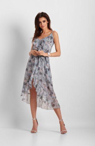 Szyfonowa sukienka midi z falbanami niebieska