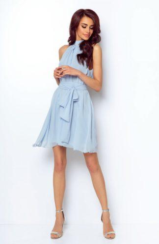 Sukienka z dekoltem halter błękitna
