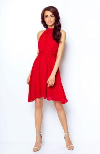 Sukienka z dekoltem halter czerwona