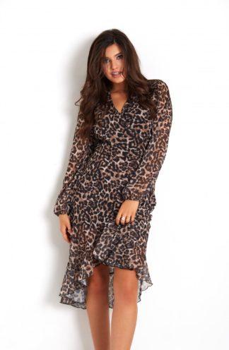 Szyfonowa sukienka z dekoltem w panterkę