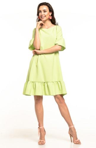 Luźna sukienka z falbanami limonkowa