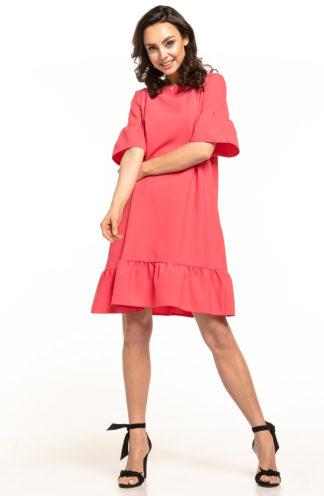 Luźna sukienka z falbanami koralowa