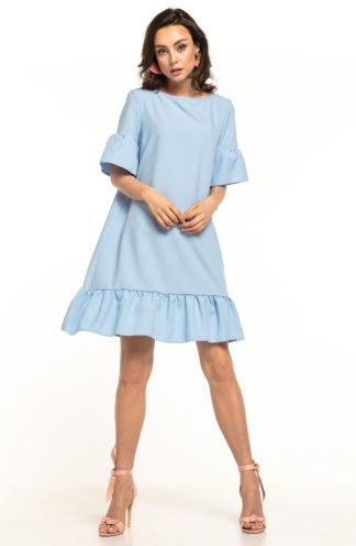 Luźna sukienka z falbanami błękitna
