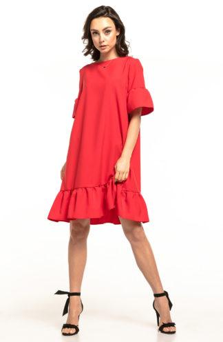 Luźna sukienka z falbanami malinowa