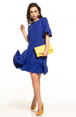 Luźna sukienka z falbanami chabrowa