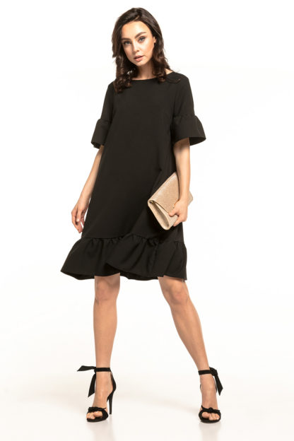 Luźna sukienka z falbanami czarna