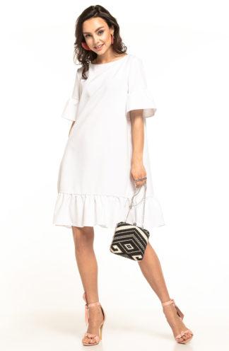 Luźna sukienka z falbanami biała