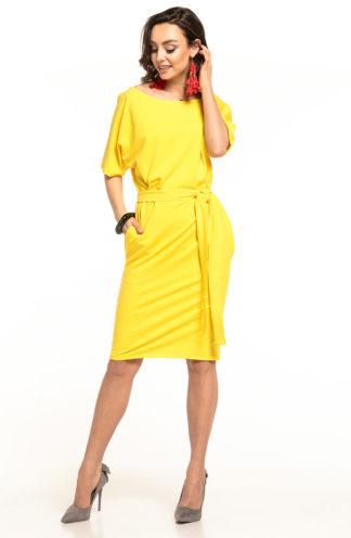 Bawełniana sukienka z kieszeniami żółta