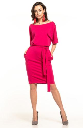 Bawełniana sukienka z kieszeniami fuksja