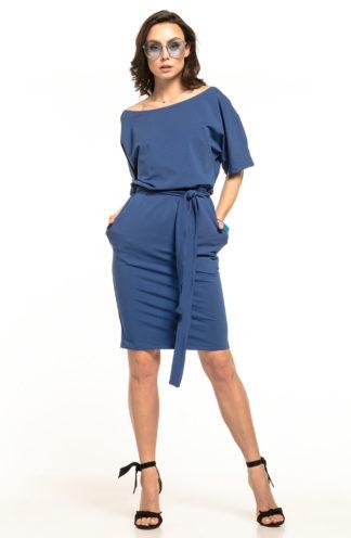 Bawełniana sukienka z kieszeniami niebieska