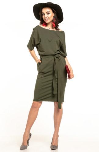 Bawełniana sukienka z kieszeniami khaki