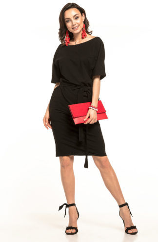 Bawełniana sukienka z kieszeniami czarna