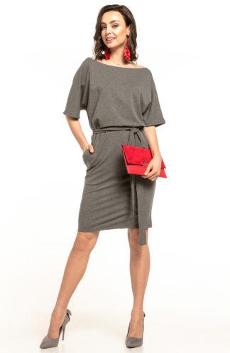 Bawełniana sukienka z kieszeniami szara