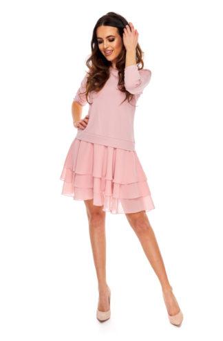 Sukienka z falbanami z szyfonu różowa